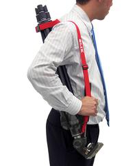三脚の持ち運びに便利な「赤ストラップ」が付属